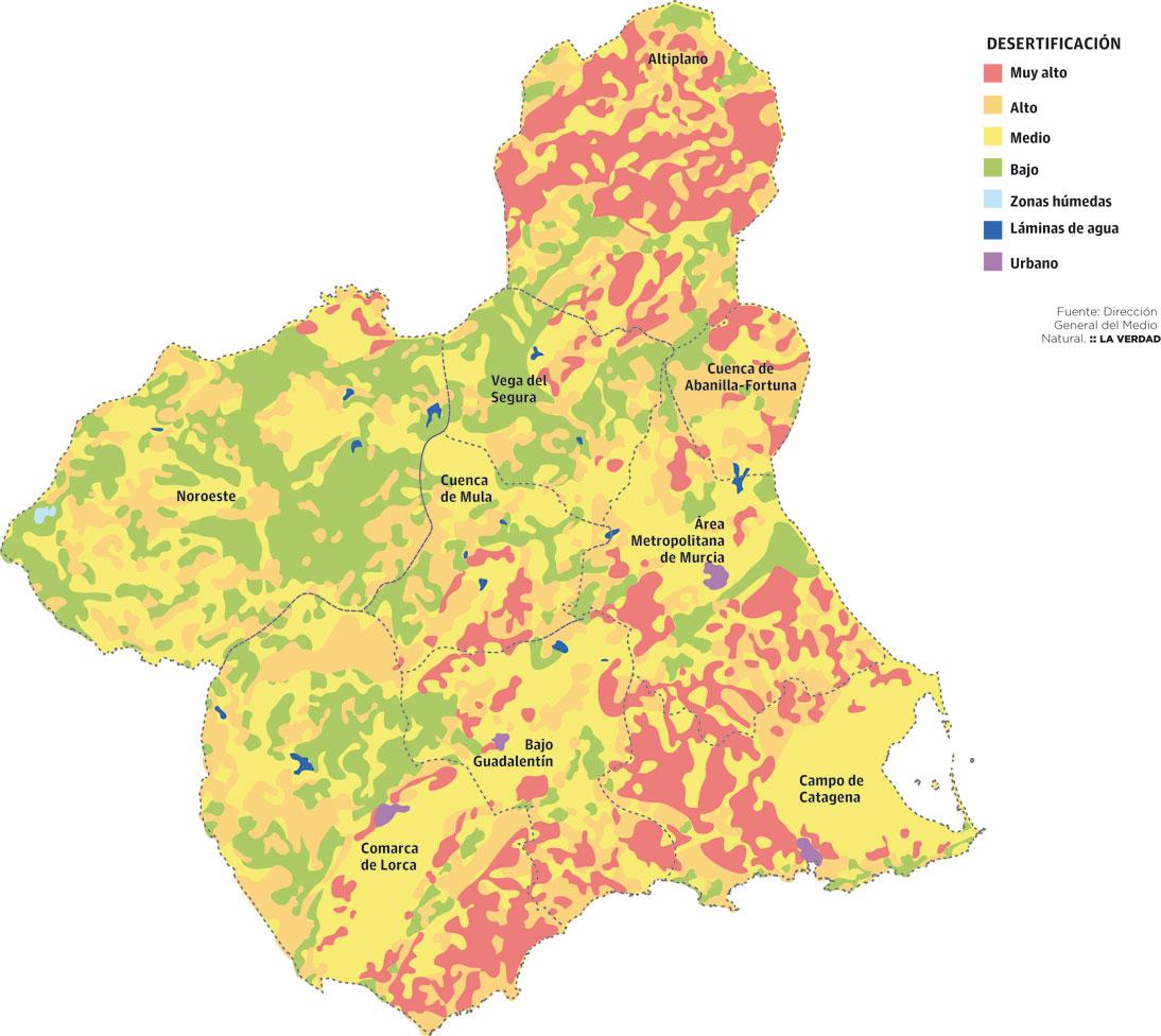 Mapa Region De Murcia.Mapa De Riesgo De Desertificacion De La Region De Murcia