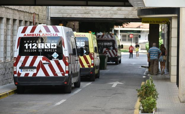 Ambulances at Morales Meseguer hospital, in a file photo.