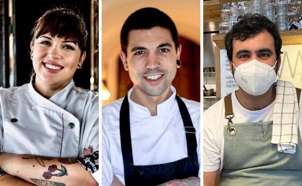 Lara Roguez (Kraken), Julen Baz (Restaurante Garena) y Carles Pérez de Rozas (Berbena)