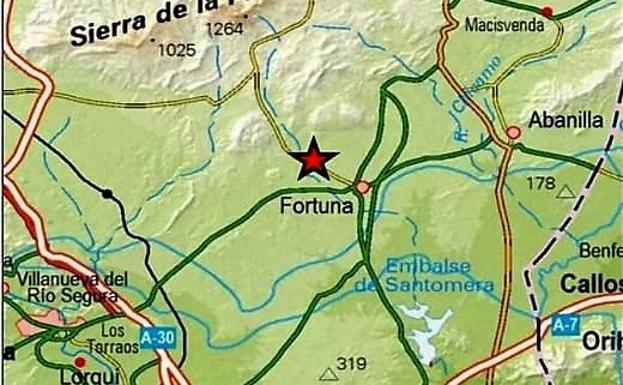 El epicentro del seísmo que se ha producido este miércoles por la tarde en Fortuna.