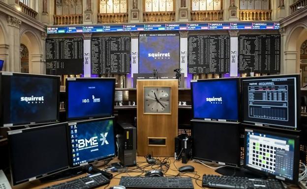 Inside the Madrid Stock Exchange.